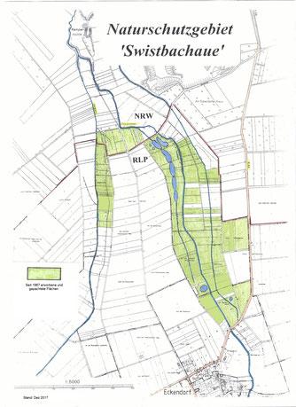 Die Aufteilung der Flächen im NSG Swistbachaue (Stand: 10/2017)