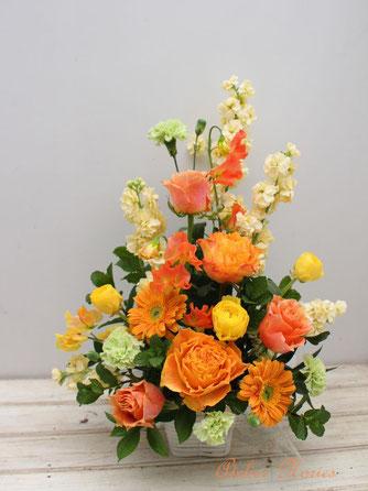 イエロー・オレンジ系のビタミンカラーのアレンジメント