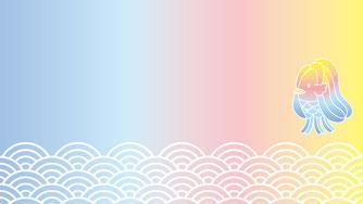 Zoomオンライン用壁紙無料ダウンロード(バーチャル背景)アマビエデザイン作成制作名刺
