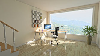 Homeoffice mit Panoramafenster  - © Pixabay