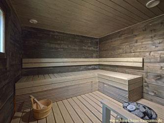 Sauna im Blockhaus mit Fernsteuerung