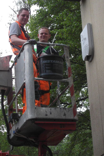 Herr Benzel und Herr Stärk stets gut gelaunt, trotz der mühsamen Arbeit mit den schweren Holzbetonkästen