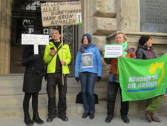 Auch der BUND Leipzig und Bündnis 90 / Die Grünen haben sich an der Demo beteiligt. Foto: Karsten Peterlein