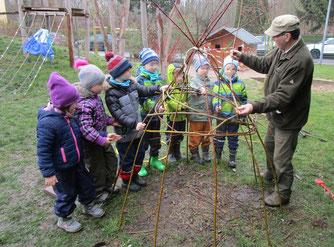 Mit Bernd Hoffmann vom NABU Leipzig bauten die Kindergartenkinder in Plaußig eine Weidenhütte. Foto: NABU Plaußig-Portitz