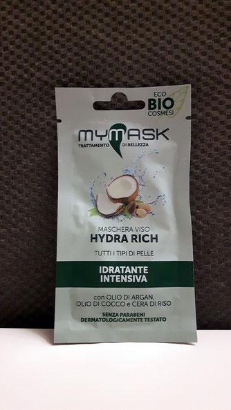 Maschera viso Hydra Rich idratante intensiva con olio di argan,olio di cocco e cera di riso