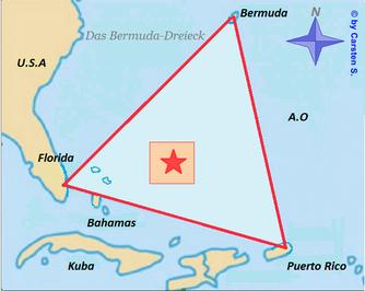 Das Bermuda-Dreieck im Atlantischen Ozean (rotes Gebiet: eventueller Aufenthaltsort der Kristall-Pyramide)