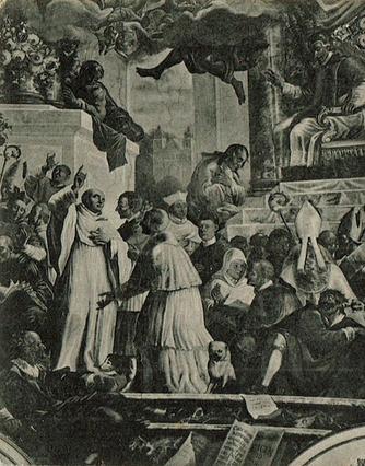 Bernhard von Clairvaux auf dem Konzil von Reims – Fresko von Karl Hofreiter im Bibliotheksaal Waldsassen (Ausschnitt aus einer Ansichtskarte des Waldsassener Fotografen Anton Hölzl; vor 1927).