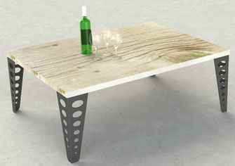 pied de table basse design en métal