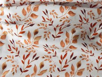 Jersey mit Herbstblättern in Brauntönen