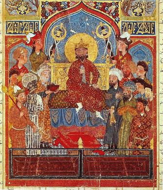 Искандер на троне. Миниатюра. «Шахнаме Демотта». ок. 1335 г. Лувр, Париж.