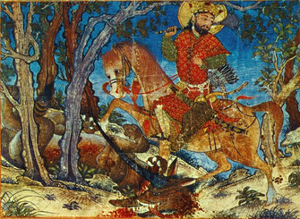 Бахрам Гур, убивший волка. Миниатюра. «Шахнаме Демотта» 1328-36гг. Кембридж, Музей Фогга.