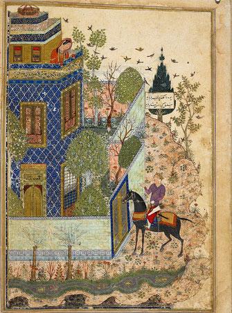 Джунейд. Хумаюн подглядывает за Хумаем, стоящим у ворот. Миниатюра. «Три поэмы» Хаджу Кермани. 1396 г. Британская библиотека, Лондон.