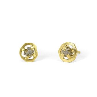 Zwei Brocken Glück mit Rohdiamanten in 750/- recycelten Gold