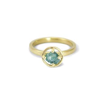 Ein Brocken Glück Blaue Rohdiamant in 750/- Gold (Anfertigung)