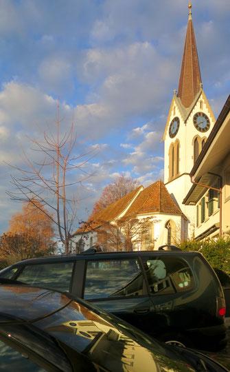 Kirche, Himmel, Spiegelung