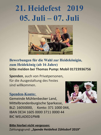 Heidefest 2019 Zühlsdorf - Königspaar gesucht