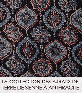 La collection des ajrak bruns, taupe et terre de Sienne du Gujarat (Inde)