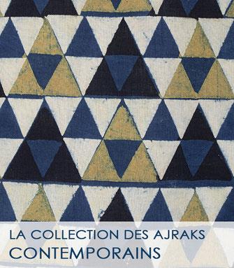 La collection des ajraks écrus, rouges et bleus du Gujarat (Inde)
