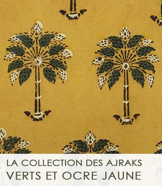 La collection des ajrak jaunes, ocre et verts du Gujarat (Inde)