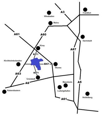 Anfahrt Südlicher Wonnegau VG Monsheim