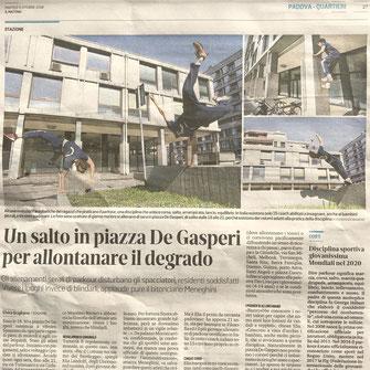 articolo giornale parkour padova