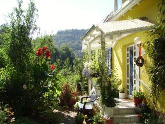 Ferienwohnung Pfälzerwald, Wohnung Haus Zum Rosengärtchen, Rinnthal, Garten, Terrasse