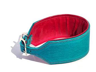 Windhundhalsband breit in türkis mit Polster und Futter in pink Lederhalsband mit Edelstahlverschluß Bolleband