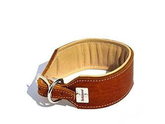 Lederhalsband Windhund 4,5 cm breit cognac creme mit Polsterung Edelstahlverschluß Handarbeit Hundehalsband Leder