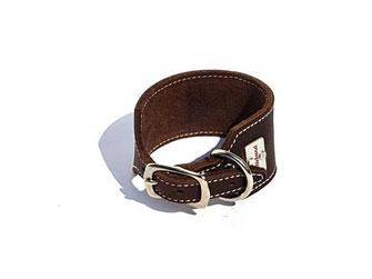 Windhundhalsband Leder braun hell abgenäht 4,5 cm breit Bolleband