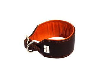 Halsband Greyhound braun orange gepolstert Handarbeit Bolleband