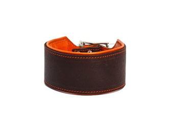 Windhundhalsband Fettledereder braun orange Halsband Hund breit
