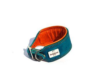 Hundehalsband Leder für Windhunde in türkis mit Polsterung und Futterleder in orange 4,5 cm breit Edelstahlverschluß Bolleband