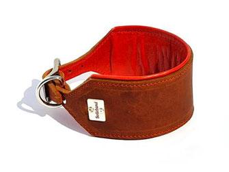 Windhundhalsband Leder 6 cm breit mit Polster in orange und Edelstahlverschluß