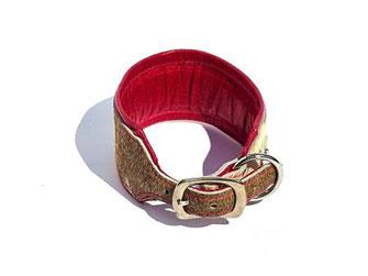 Windhundhalsband weich und flexibel mit Fell und Polster in pink