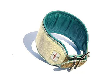 Besonderes Windhundhalsband aus Kuhfell mit Polsterung und Futterleder