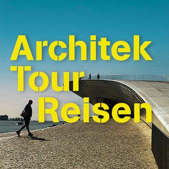 Blick auf eine futuristische Brücke am Ufer eines Gewässers mit Fußgängern als Titelbild der Rubrik ArchitekTour Reisen
