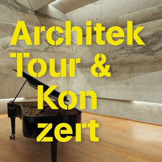 Blick auf einen Schwarzen Flügel im Inneren eines Konzertsaals als Titelbild für die Rubrik ArchitekTour in Concert