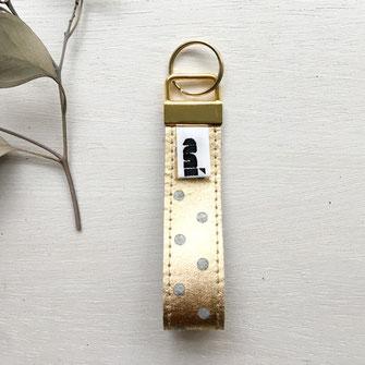 Schlüsselanhänger Filz, grau/gold