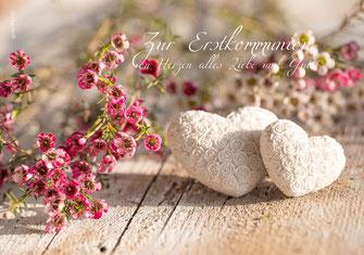 Glückwunschkarte, Erstkommunion, Engelflügel, Kommunionkarte, Zur Erstkommunion, Schweiz, Kommunionkarten bestellen, Herz