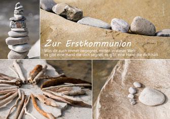 Glückwunschkarte zur Erstkommunion, Kommunion, kindgerecht, Spruch, Steine