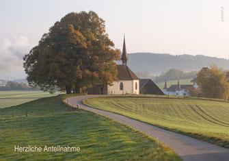 Trauerkarte, Trauerkarte Kapelle, Trauerkarte Ettiswil, Trauerkarte Schloss Wyher