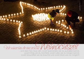 Weihnachtskarte, Weihnachten, Schweiz,  Neujahrskarte, Gutenhof, Priska Ziswiler, Ettiswil, Fotokarte,  Kerzenlichter, Kerzenlicht, 1 Million Sterne, Caritas, Luzern, Sterne