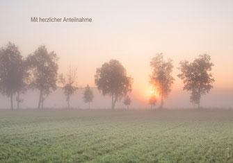 Trauerkarte, Trauerkarte Sonnenuntergang, Trauerkarte Sonnenaufgang, das einzig wichtige im Leben, Trauerspruch