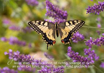 Glückwunschkarte zur Erstkommunion, Kommunion, mit kindgerechtem Spruch, Spruchkarte Kommunion, Kommunion Schmetterling, Kommunionkarte mit Schmetterling, Schmetterling