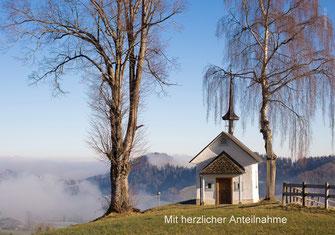 Trauerkarte Winter, Trauerkarte Herbst, Trauerkarte Kapelle, Heuberg, Kapelle Luthern
