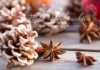 Weihnachtskarte Sternanis und Tannzapfen,  Neujahrskarten, Karten zu Weihnachten, Fotokarten zu Weihnachten, Weihnachtskarten, Weihnachtskarten Schweiz, Weihnachtskarten Shop