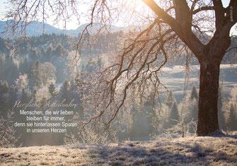 Trauerkarte, Baum, Menzberg, Winterlandschaft, Schnee, Spuren der Liebe