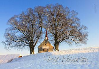 Weihnachtskarte, Weihnachten, Neujahrskarte, Gutenhof, Priska Ziswiler, Ettiswil, Fotokarte,  Schnee, Kapelle, Kapelle im Schnee, Wyher, Wyherkapelle