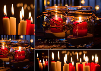 Weihnachtskarte, Weihnachten, Neujahrskarte, Gutenhof, Priska Ziswiler, Ettiswil, Fotokarte,  Kerzen, Kerzenlicht, Kerzenlichter, rote Kerzen, Schweiz