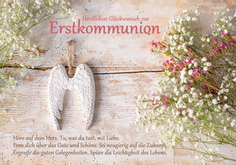 Glückwunschkarte zur Erstkommunion, Kommunion, mit kindgerechtem Spruch, Spruchkarte Kommunion, Glückwunschkarte, Erstkommunion, Engelflügel, Kommunionkarte, Zur Erstkommunion, Schweiz, Kommunionkarten bestellen